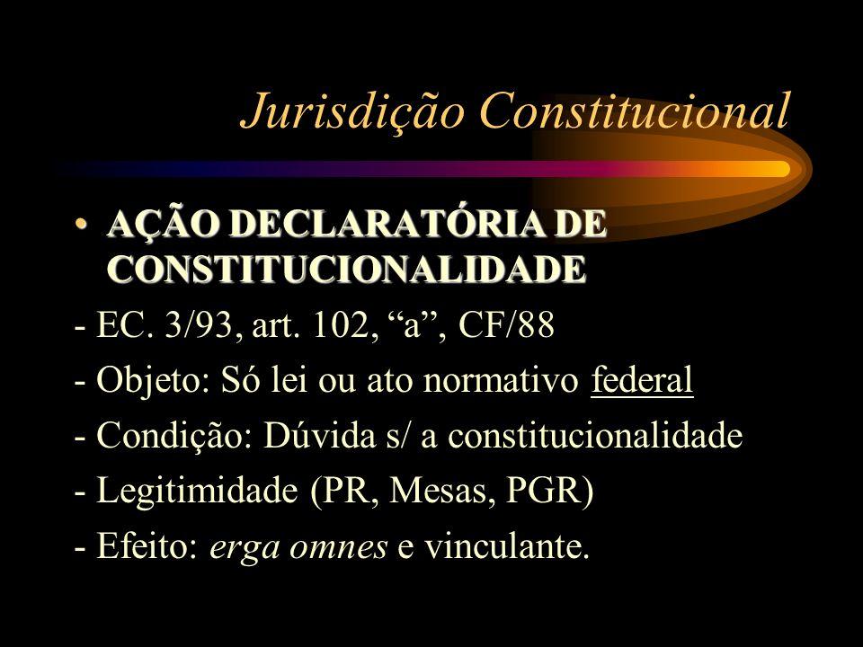 Jurisdição Constitucional AÇÃO DECLARATÓRIA DE CONSTITUCIONALIDADEAÇÃO DECLARATÓRIA DE CONSTITUCIONALIDADE - EC. 3/93, art. 102, a, CF/88 - Objeto: Só