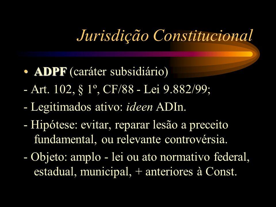 Jurisdição Constitucional ADPFADPF (caráter subsidiário) - Art. 102, § 1º, CF/88 - Lei 9.882/99; - Legitimados ativo: ideen ADIn. - Hipótese: evitar,