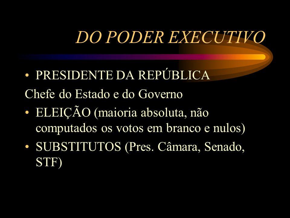 DO PODER EXECUTIVO PRESIDENTE DA REPÚBLICA Chefe do Estado e do Governo ELEIÇÃO (maioria absoluta, não computados os votos em branco e nulos) SUBSTITU