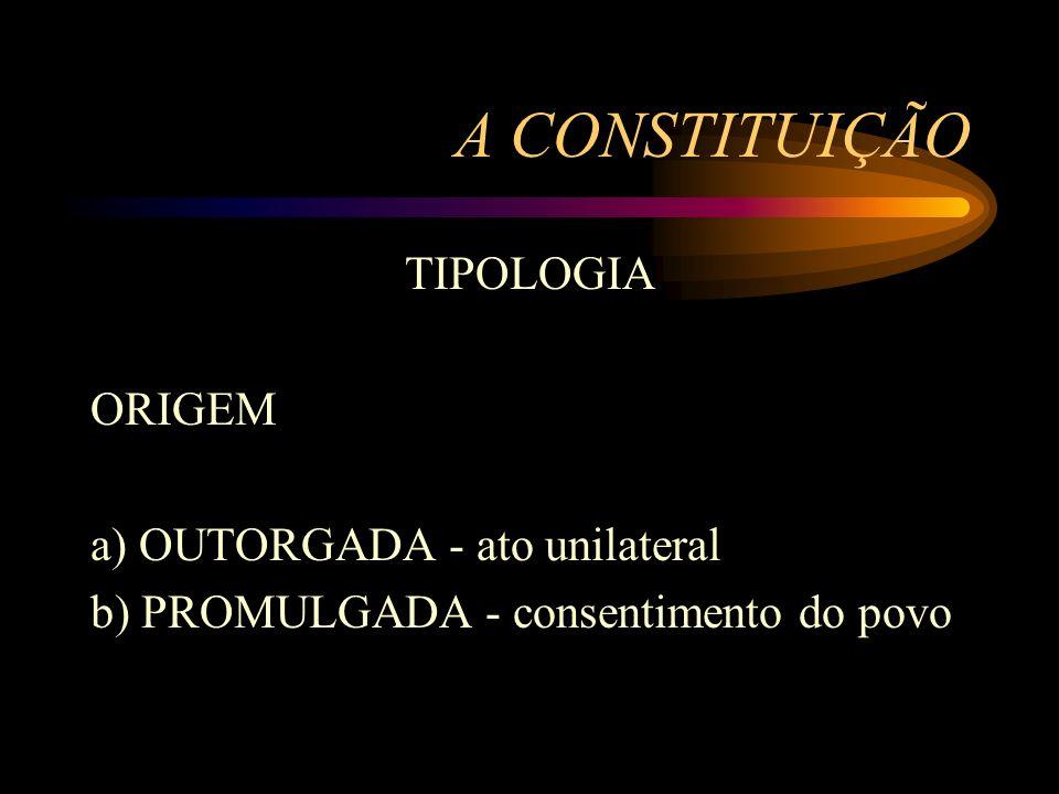 A CONSTITUIÇÃO TIPOLOGIA ORIGEM a) OUTORGADA - ato unilateral b) PROMULGADA - consentimento do povo