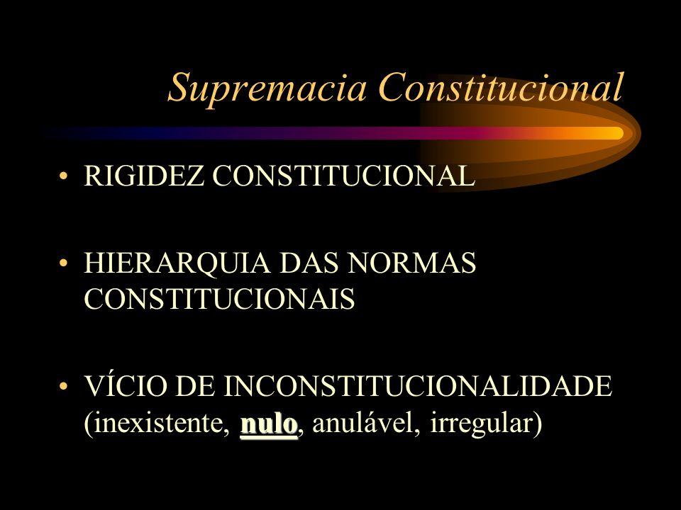 Supremacia Constitucional RIGIDEZ CONSTITUCIONAL HIERARQUIA DAS NORMAS CONSTITUCIONAIS nuloVÍCIO DE INCONSTITUCIONALIDADE (inexistente, nulo, anulável