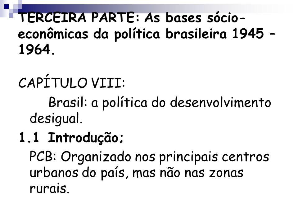 TERCEIRA PARTE: As bases sócio- econômicas da política brasileira 1945 – 1964. CAPÍTULO VIII: Brasil: a política do desenvolvimento desigual. 1.1Intro