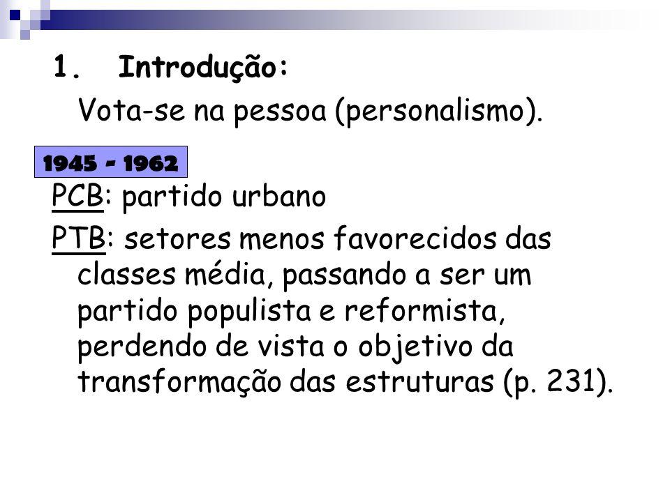 1.Introdução: Vota-se na pessoa (personalismo). PCB: partido urbano PTB: setores menos favorecidos das classes média, passando a ser um partido populi