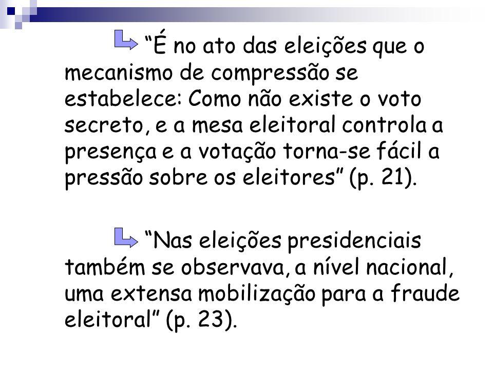 É no ato das eleições que o mecanismo de compressão se estabelece: Como não existe o voto secreto, e a mesa eleitoral controla a presença e a votação