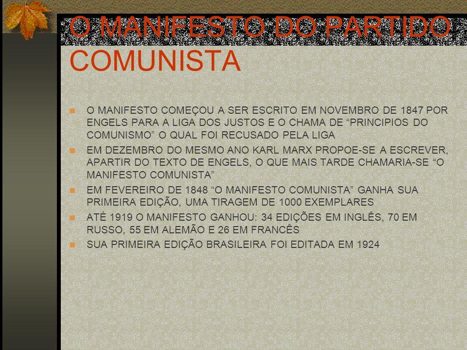 O MANIFESTO DO PARTIDO COMUNISTA O MANIFESTO COMEÇOU A SER ESCRITO EM NOVEMBRO DE 1847 POR ENGELS PARA A LIGA DOS JUSTOS E O CHAMA DE PRINCIPIOS DO CO