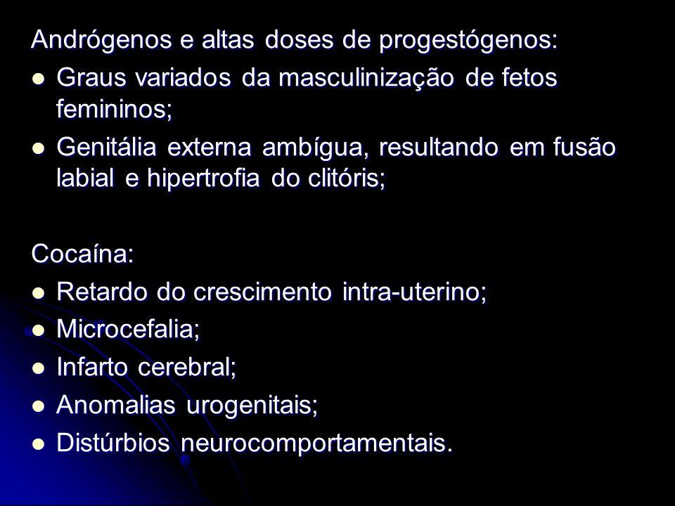 Andrógenos e altas doses de progestógenos: Graus variados da masculinização de fetos femininos; Graus variados da masculinização de fetos femininos; G