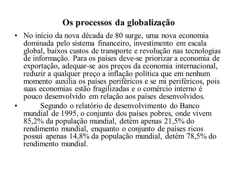Os processos da globalização No início da nova década de 80 surge, uma nova economia dominada pelo sistema financeiro, investimento em escala global,