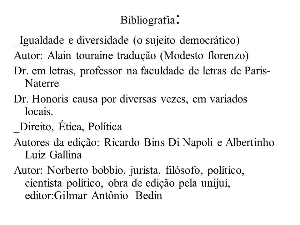 Bibliografia : _Igualdade e diversidade (o sujeito democrático) Autor: Alain touraine tradução (Modesto florenzo) Dr. em letras, professor na faculdad