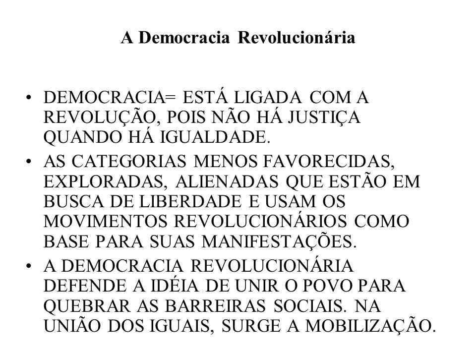 A Democracia Revolucionária DEMOCRACIA= ESTÁ LIGADA COM A REVOLUÇÃO, POIS NÃO HÁ JUSTIÇA QUANDO HÁ IGUALDADE. AS CATEGORIAS MENOS FAVORECIDAS, EXPLORA