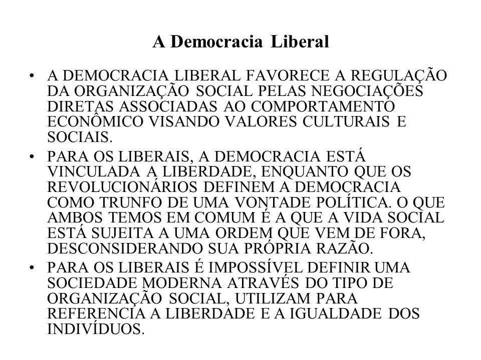A Democracia Liberal A DEMOCRACIA LIBERAL FAVORECE A REGULAÇÃO DA ORGANIZAÇÃO SOCIAL PELAS NEGOCIAÇÕES DIRETAS ASSOCIADAS AO COMPORTAMENTO ECONÔMICO V