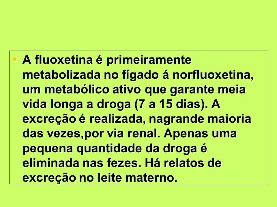 A fluoxetina é primeiramente metabolizada no fígado á norfluoxetina, um metabólico ativo que garante meia vida longa a droga (7 a 15 dias). A excreção