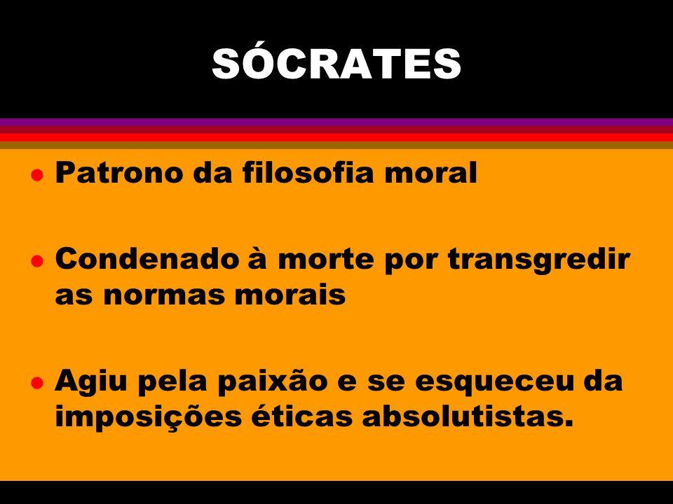 SÓCRATES l Patrono da filosofia moral l Condenado à morte por transgredir as normas morais l Agiu pela paixão e se esqueceu da imposições éticas absolutistas.