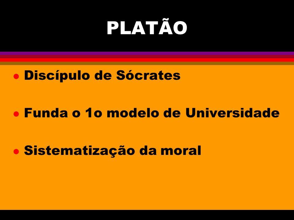PLATÃO l Discípulo de Sócrates l Funda o 1o modelo de Universidade l Sistematização da moral