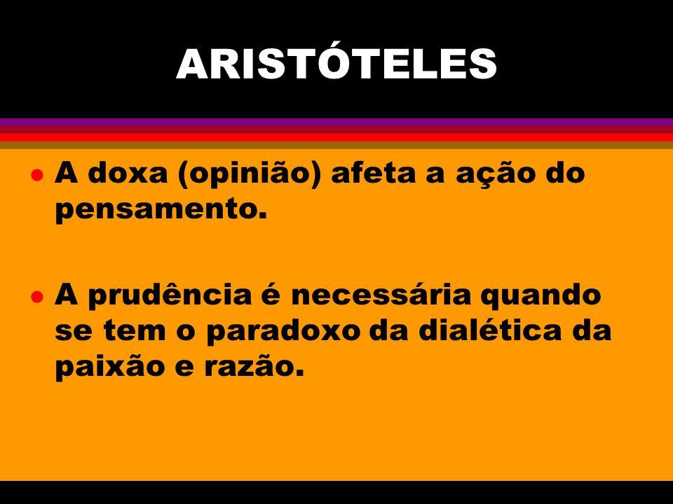 ARISTÓTELES l A doxa (opinião) afeta a ação do pensamento.