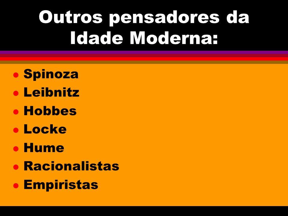 Outros pensadores da Idade Moderna: l Spinoza l Leibnitz l Hobbes l Locke l Hume l Racionalistas l Empiristas