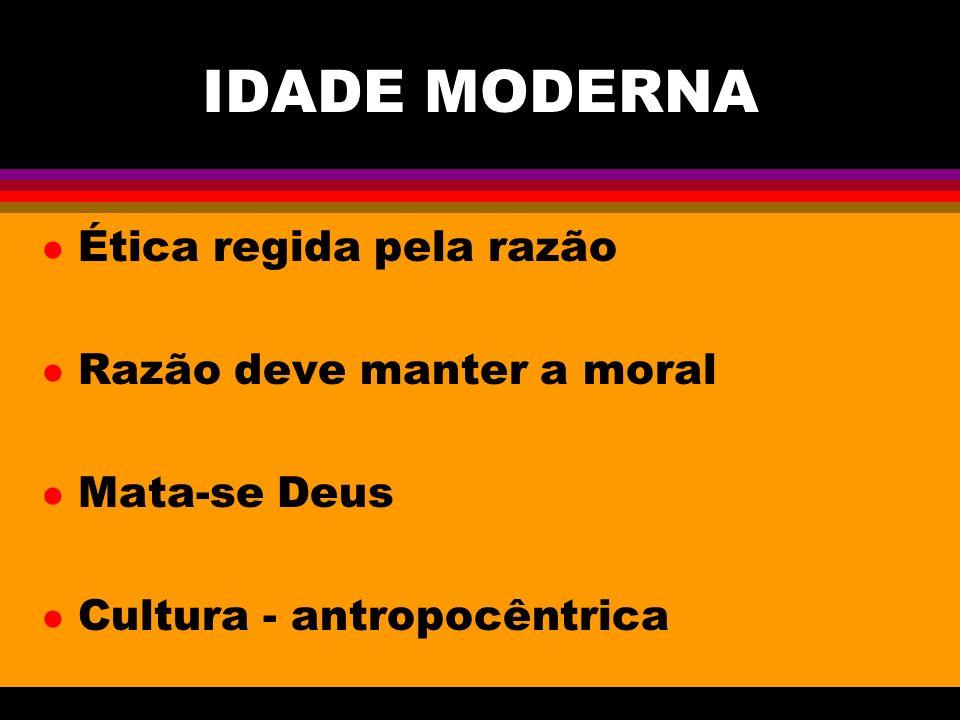 IDADE MODERNA l Ética regida pela razão l Razão deve manter a moral l Mata-se Deus l Cultura - antropocêntrica