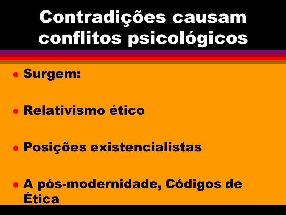 Contradições causam conflitos psicológicos l Surgem: l Relativismo ético l Posições existencialistas l A pós-modernidade, Códigos de Ética
