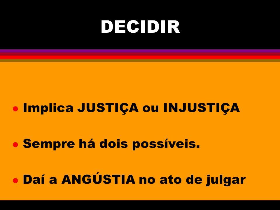 DECIDIR l Implica JUSTIÇA ou INJUSTIÇA l Sempre há dois possíveis. l Daí a ANGÚSTIA no ato de julgar