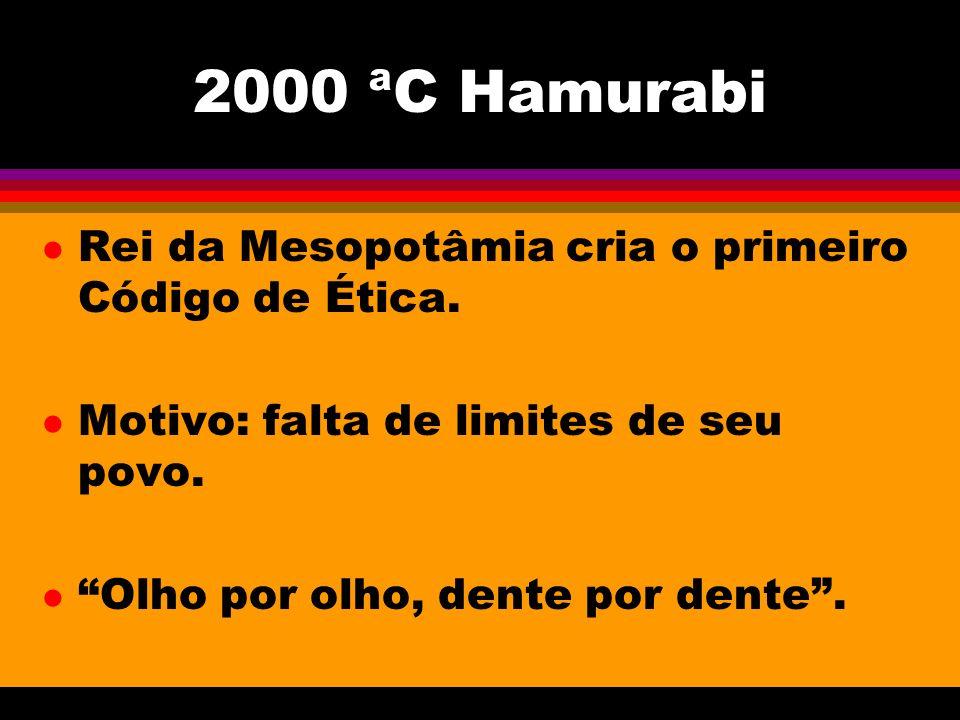 2000 ªC Hamurabi l Rei da Mesopotâmia cria o primeiro Código de Ética. l Motivo: falta de limites de seu povo. l Olho por olho, dente por dente.