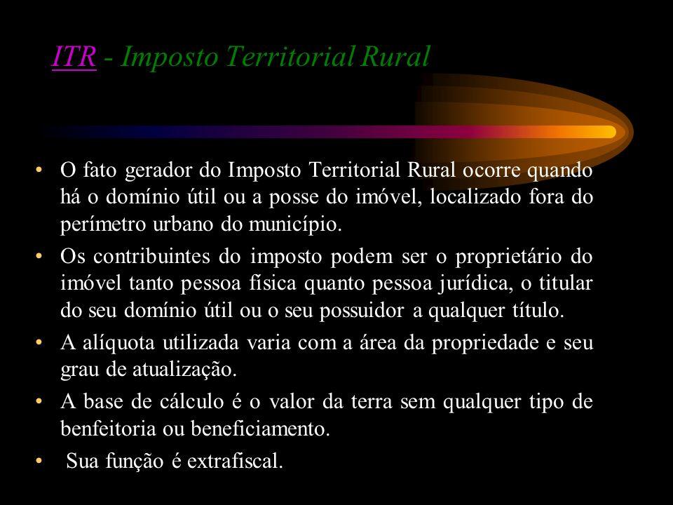 ITRITR - Imposto Territorial Rural O fato gerador do Imposto Territorial Rural ocorre quando há o domínio útil ou a posse do imóvel, localizado fora d
