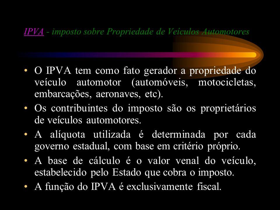 IPVAIPVA - imposto sobre Propriedade de Veículos Automotores O IPVA tem como fato gerador a propriedade do veículo automotor (automóveis, motocicletas