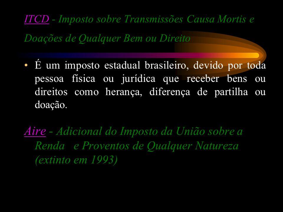 ITCDITCD - Imposto sobre Transmissões Causa Mortis e Doações de Qualquer Bem ou Direito É um imposto estadual brasileiro, devido por toda pessoa físic