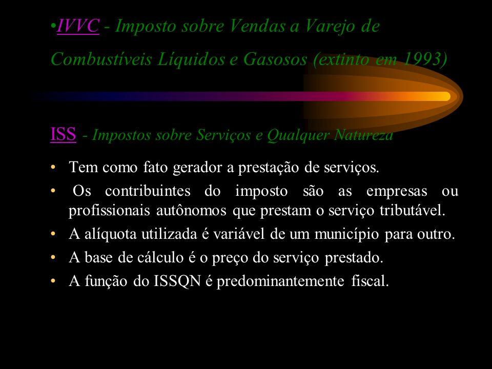 IVVC - Imposto sobre Vendas a Varejo de Combustíveis Líquidos e Gasosos (extinto em 1993)IVVC ISSISS - Impostos sobre Serviços e Qualquer Natureza Tem