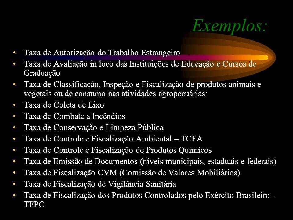 Exemplos: Taxa de Autorização do Trabalho Estrangeiro Taxa de Avaliação in loco das Instituições de Educação e Cursos de Graduação Taxa de Classificaç