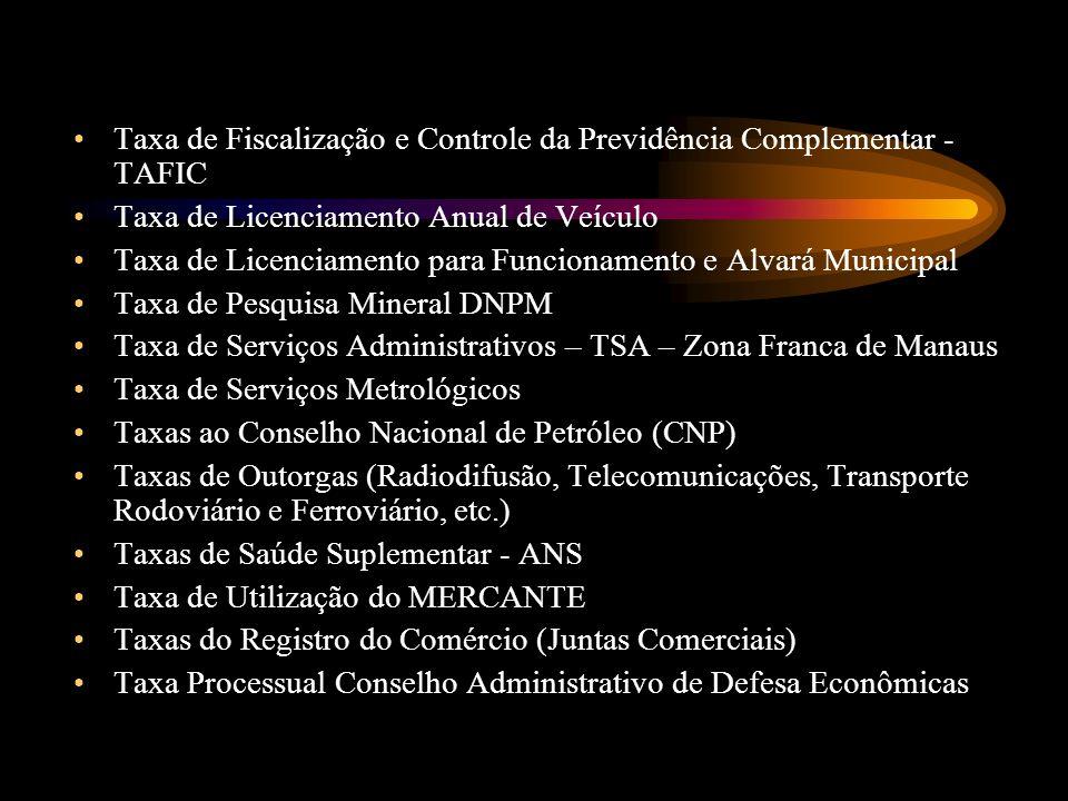 Taxa de Fiscalização e Controle da Previdência Complementar - TAFIC Taxa de Licenciamento Anual de Veículo Taxa de Licenciamento para Funcionamento e