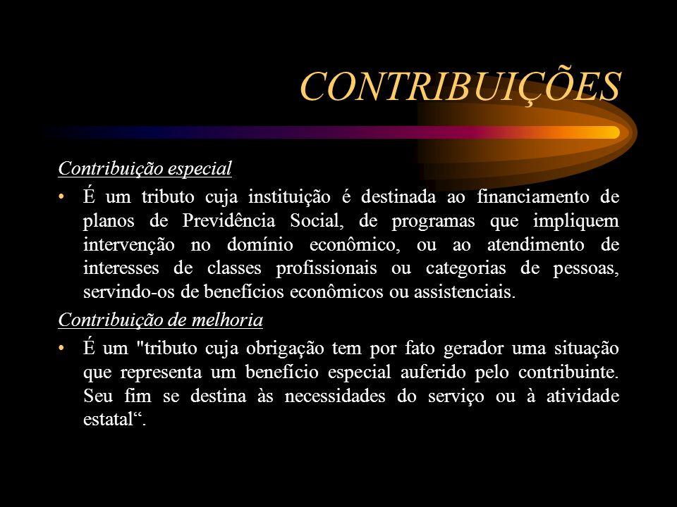 CONTRIBUIÇÕES Contribuição especial É um tributo cuja instituição é destinada ao financiamento de planos de Previdência Social, de programas que impli