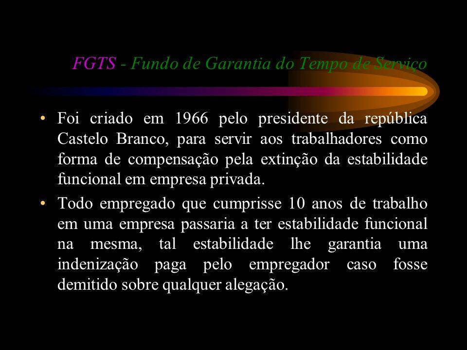 FGTS - Fundo de Garantia do Tempo de Serviço Foi criado em 1966 pelo presidente da república Castelo Branco, para servir aos trabalhadores como forma