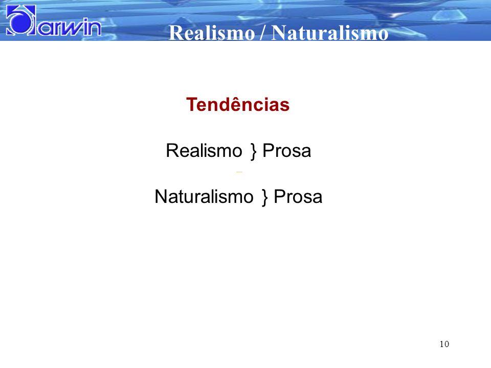 Realismo / Naturalismo 10 Tendências Realismo } Prosa Naturalismo } Prosa