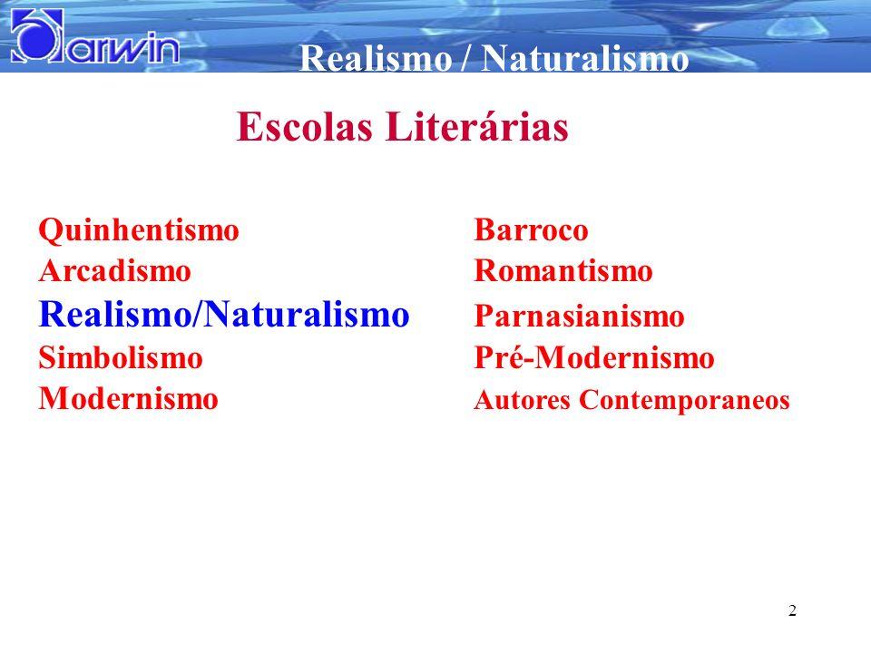 Realismo / Naturalismo 2 Escolas Literárias QuinhentismoBarroco ArcadismoRomantismo Realismo/Naturalismo Parnasianismo SimbolismoPré-Modernismo Modern