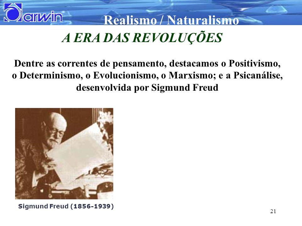 Realismo / Naturalismo 21 A ERA DAS REVOLUÇÕES Dentre as correntes de pensamento, destacamos o Positivismo, o Determinismo, o Evolucionismo, o Marxism