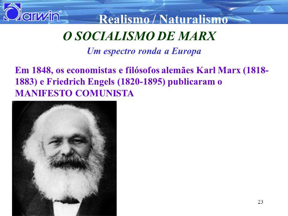 Realismo / Naturalismo 23 O SOCIALISMO DE MARX Um espectro ronda a Europa Em 1848, os economistas e filósofos alemães Karl Marx (1818- 1883) e Friedri