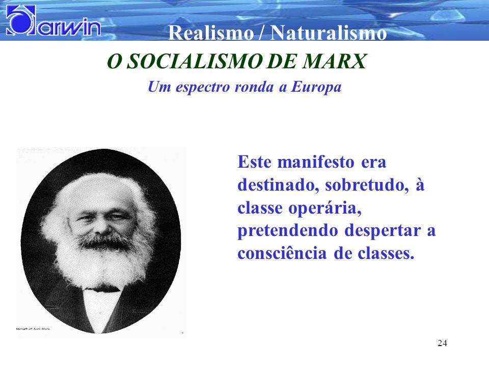 Realismo / Naturalismo 24 O SOCIALISMO DE MARX Um espectro ronda a Europa Este manifesto era destinado, sobretudo, à classe operária, pretendendo desp