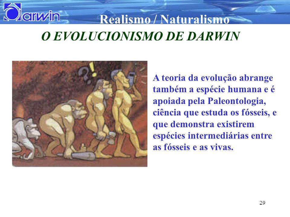 Realismo / Naturalismo 29 O EVOLUCIONISMO DE DARWIN A teoria da evolução abrange também a espécie humana e é apoiada pela Paleontologia, ciência que e