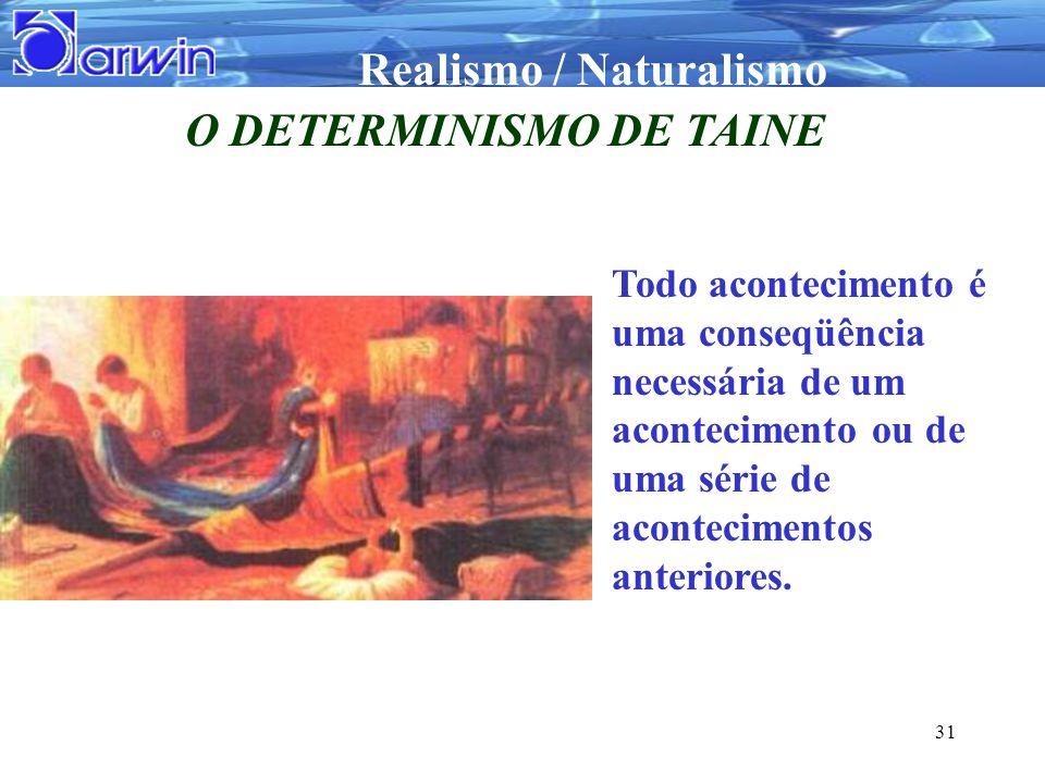 Realismo / Naturalismo 31 O DETERMINISMO DE TAINE Todo acontecimento é uma conseqüência necessária de um acontecimento ou de uma série de aconteciment