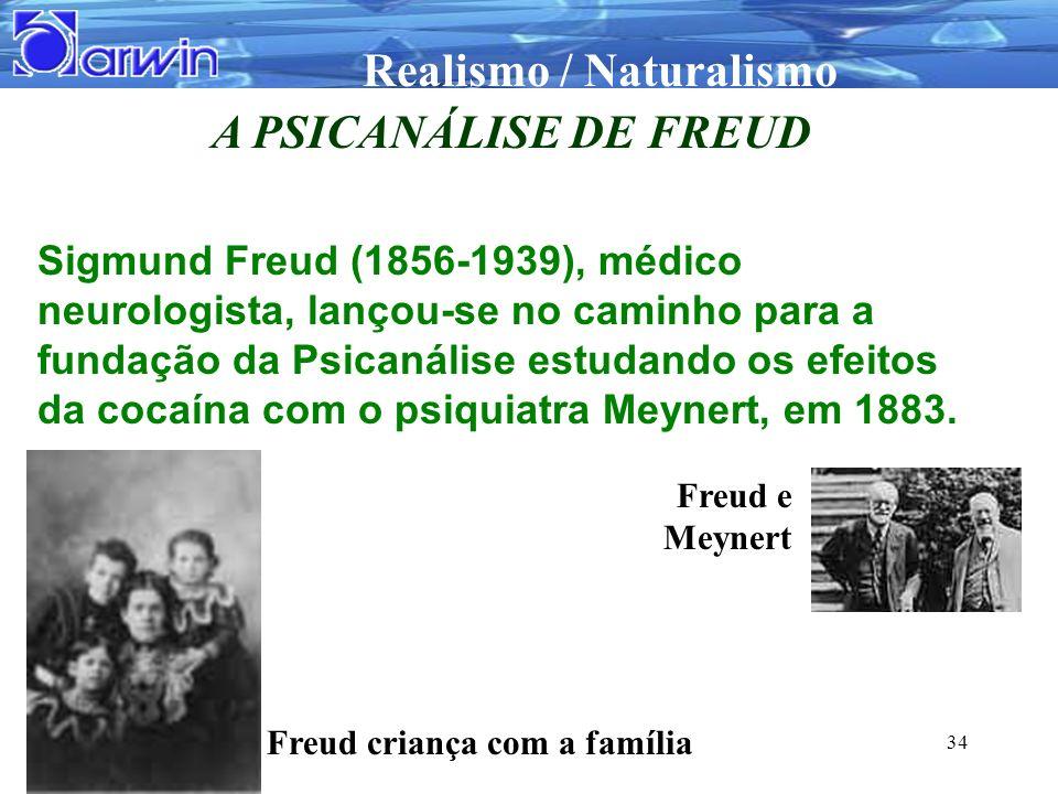 Realismo / Naturalismo 34 A PSICANÁLISE DE FREUD Sigmund Freud (1856-1939), médico neurologista, lançou-se no caminho para a fundação da Psicanálise e