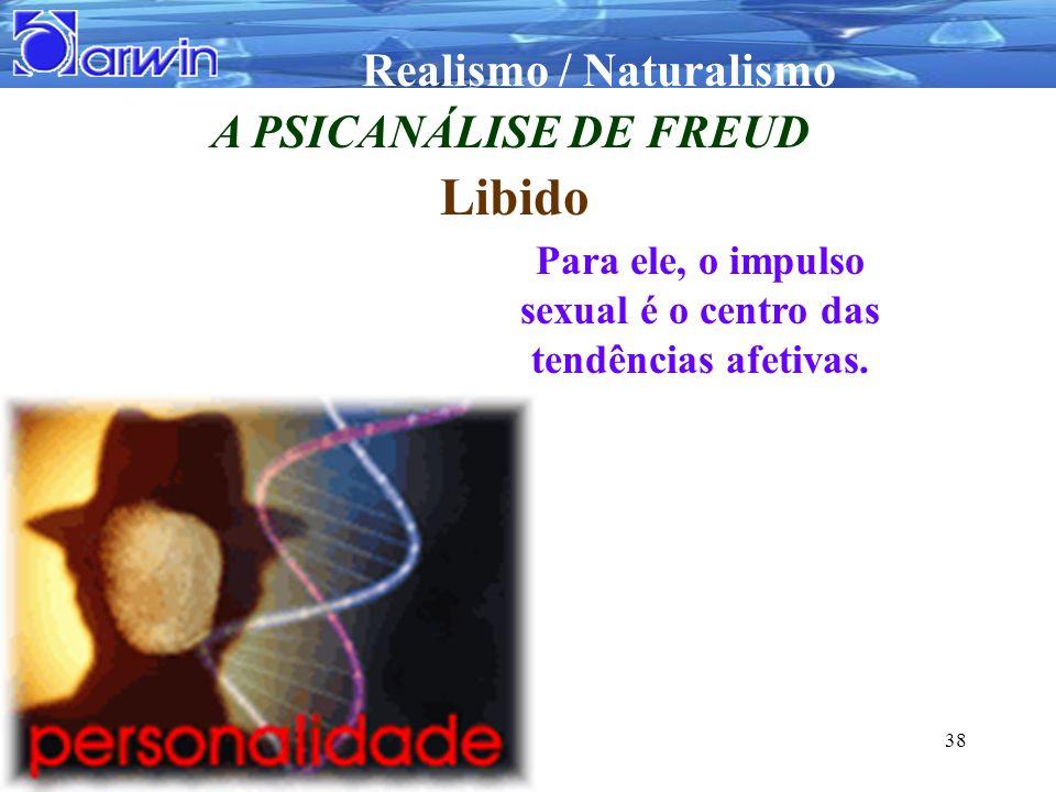 Realismo / Naturalismo 38 A PSICANÁLISE DE FREUD Libido Para ele, o impulso sexual é o centro das tendências afetivas.