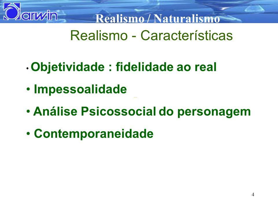 Realismo / Naturalismo 4 Realismo - Características Objetividade : fidelidade ao real Impessoalidade Análise Psicossocial do personagem Contemporaneid