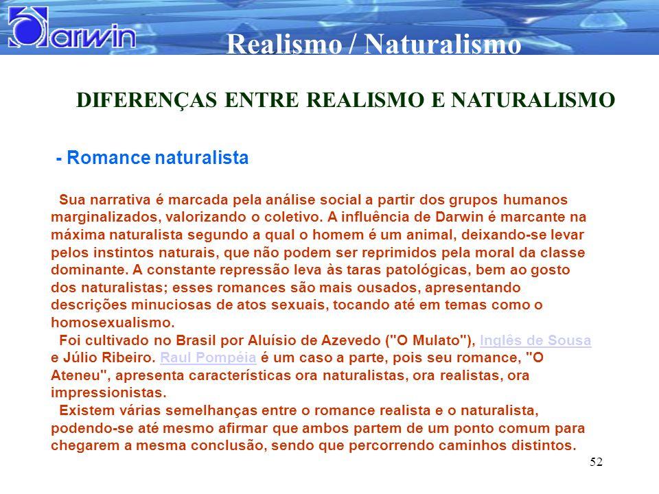 Realismo / Naturalismo 52 DIFERENÇAS ENTRE REALISMO E NATURALISMO - Romance naturalista Sua narrativa é marcada pela análise social a partir dos grupo