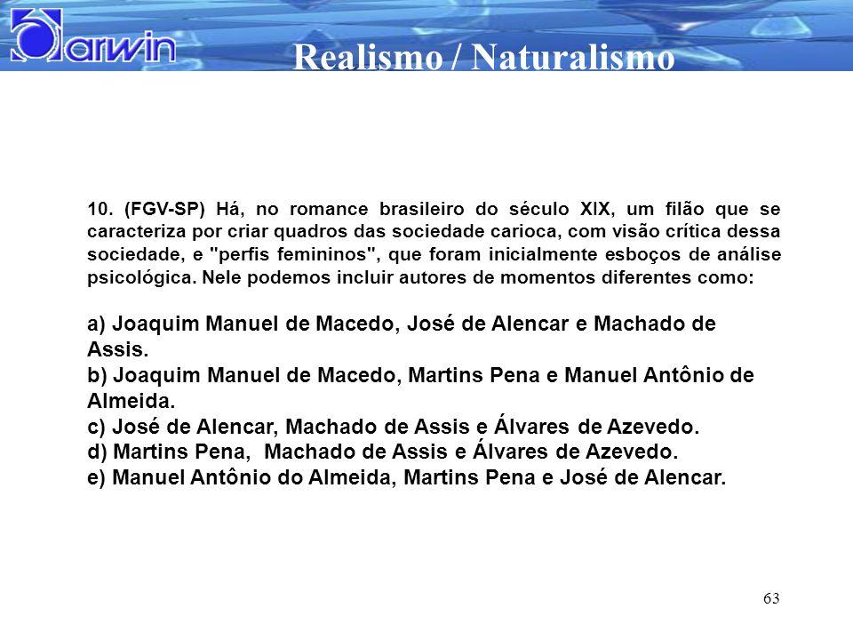 Realismo / Naturalismo 63 10. (FGV-SP) Há, no romance brasileiro do século XIX, um filão que se caracteriza por criar quadros das sociedade carioca, c