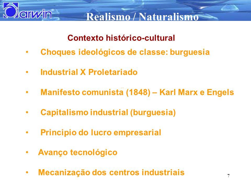 Realismo / Naturalismo 7 Choques ideológicos de classe: burguesia Industrial X Proletariado Manifesto comunista (1848) – Karl Marx e Engels Capitalism