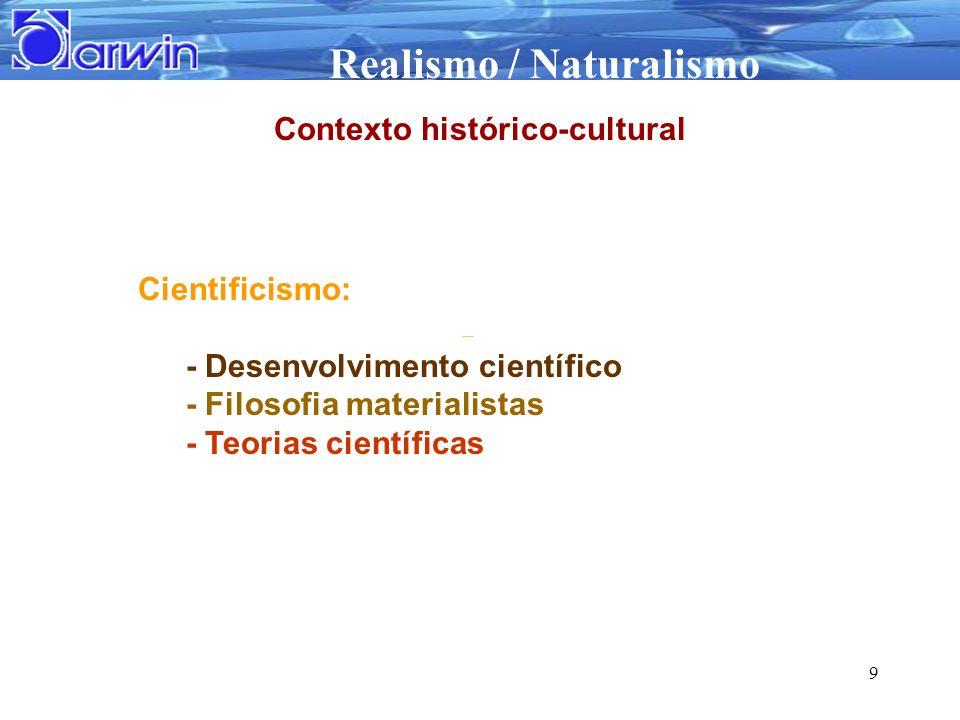 Realismo / Naturalismo 9 Cientificismo: - Desenvolvimento científico - Filosofia materialistas - Teorias científicas Contexto histórico-cultural