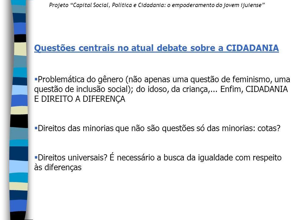 Questões centrais no atual debate sobre a CIDADANIA Problemática do gênero (não apenas uma questão de feminismo, uma questão de inclusão social); do idoso, da criança,...
