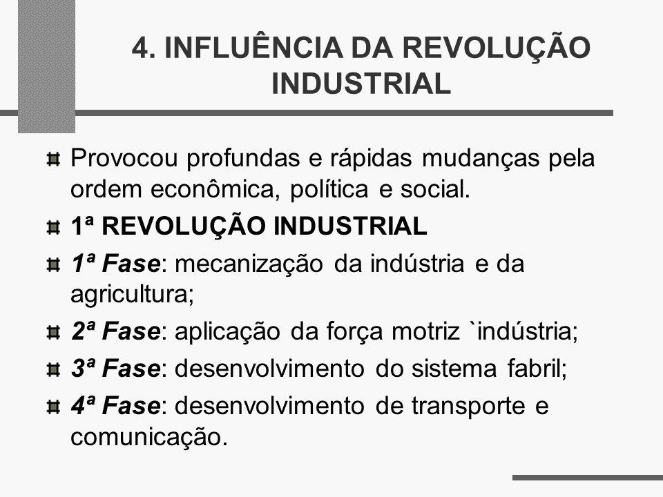 4. INFLUÊNCIA DA REVOLUÇÃO INDUSTRIAL Provocou profundas e rápidas mudanças pela ordem econômica, política e social. 1ª REVOLUÇÃO INDUSTRIAL 1ª Fase:
