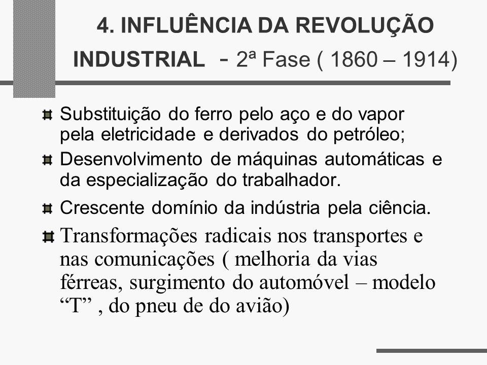 4. INFLUÊNCIA DA REVOLUÇÃO INDUSTRIAL - 2ª Fase ( 1860 – 1914) Substituição do ferro pelo aço e do vapor pela eletricidade e derivados do petróleo; De