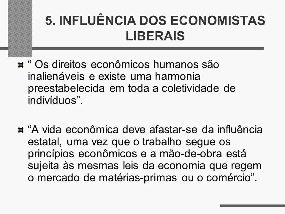 5. INFLUÊNCIA DOS ECONOMISTAS LIBERAIS Os direitos econômicos humanos são inalienáveis e existe uma harmonia preestabelecida em toda a coletividade de