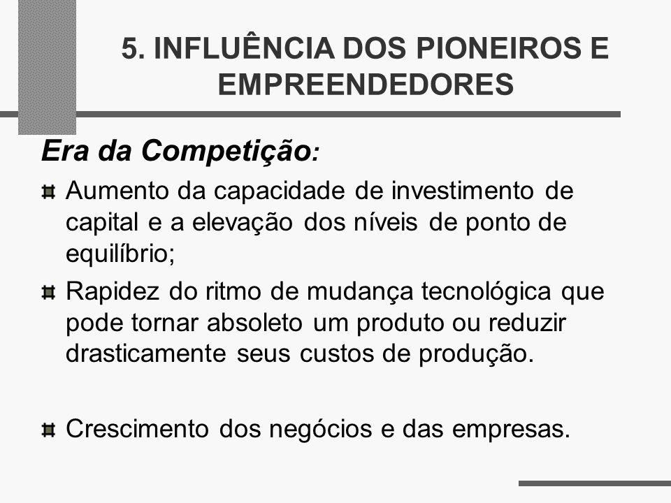 5. INFLUÊNCIA DOS PIONEIROS E EMPREENDEDORES Era da Competição : Aumento da capacidade de investimento de capital e a elevação dos níveis de ponto de
